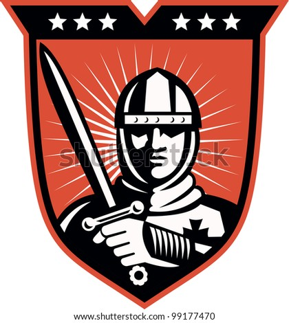Illustration of a knight warrior crusader with long sword set inside shield done in retro style.