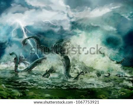 Stock Photo Illustration of a Kraken or giant octopus in the storm, spindrift near seashore