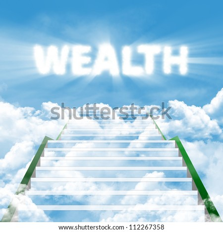 Illustration of a ladder leading upward to gain wealth