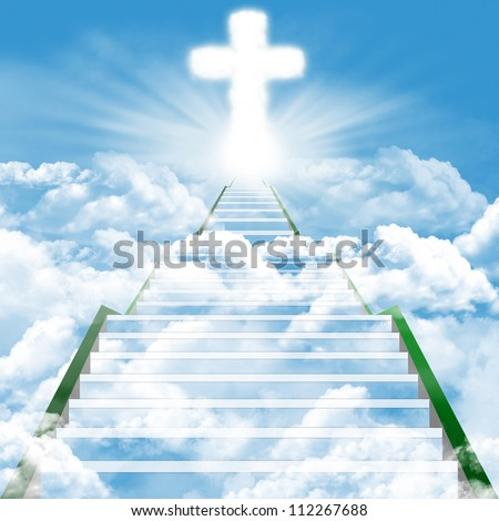 Illustration of a ladder leading upward to heaven