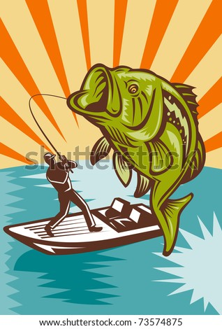 Bass Boat Clip Art http://www.shutterstock.com/pic-73574875/stock-photo-illustration-of-a-largemouth-bass-fish-jumping-being-reeled-by-fly-fisherman-on-bass-boat-with.html
