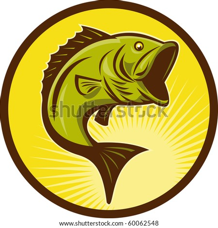 illustration of a Largemouth Bass fish jumping done in retro woodcut style
