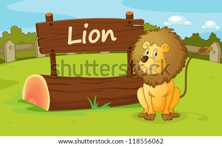 illustration of a lion in a beautiful nature