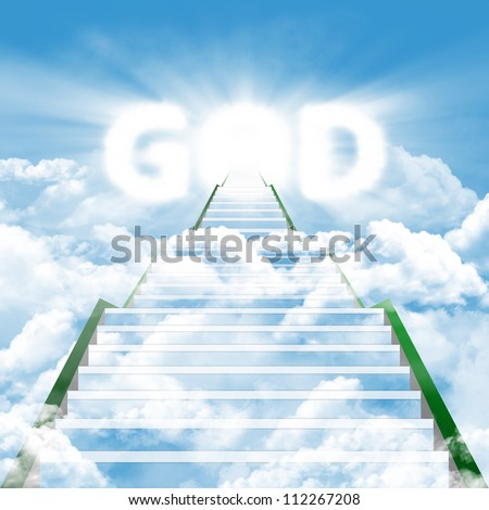 Illustration of a long ladder leading upward to heaven represented by the word 'GOD'