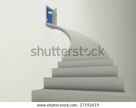 Illustration of a long stairway leading to an open door, with blue sky and clouds behind.