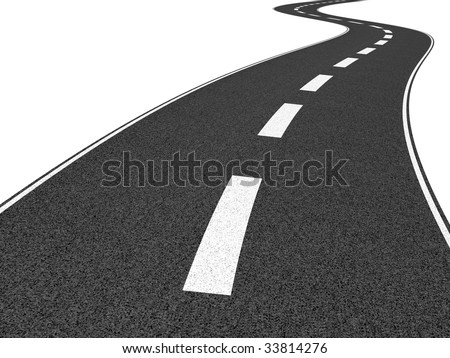 Illustration of a long, winding road disappearing into the distance.