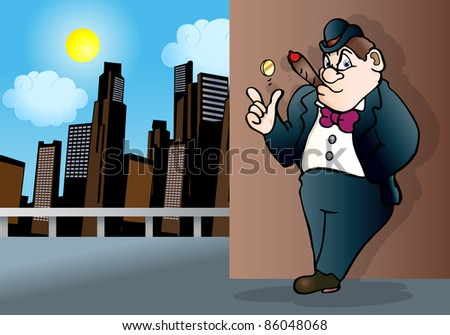 illustration of a mafia man with coin toss on empty air over city day light background