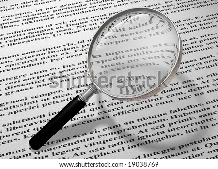 Illustration of a magnifying glass reading the small print of a document