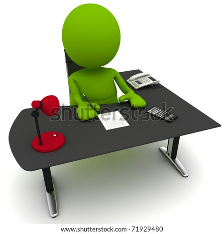 Illustration of a man at a desk signing a contract.  Part of my cute green man series.