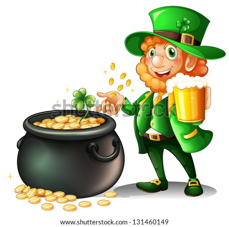 Illustration of a man holding a beer beside a pot of coins on a white background