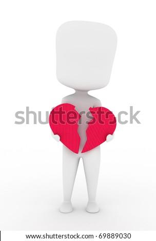 Illustration of a Man Holding a Broken Heart