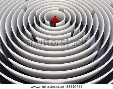 illustration of a man in red in the center of a maze