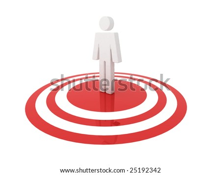 Illustration of a man in the centre (center) of a glossy target.