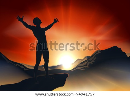 Illustration of a man on a mountain or cliff top with arms out at sunrise or sunset with light sunburst