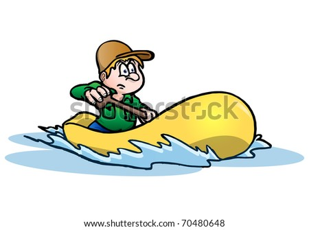 illustration of a man Rafting on a river