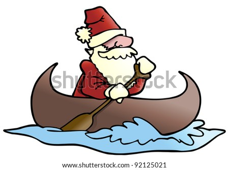 illustration of a man rafting  wearing santa cloth on isolated white background