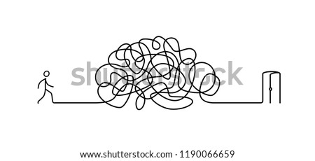Illustration of a man walking through a labyrinth to the exit. The labyrinth is like a brain. Metaphor. Linear style. Illustration for a website or presentation. Solving problems in life.