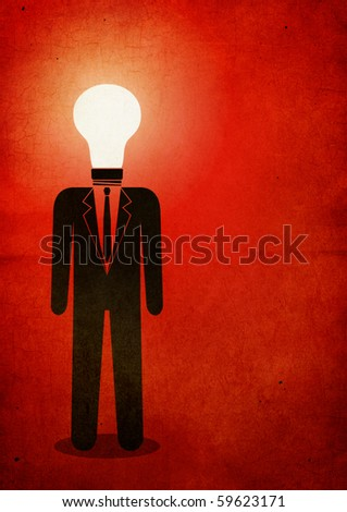 Illustration of a man with a light bulb instead of head