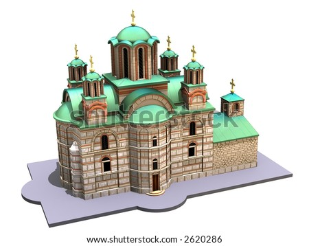 Illustration of a medieval church isolated on a white background