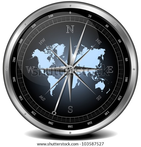 illustration of a metal framed compass with blue color scheme