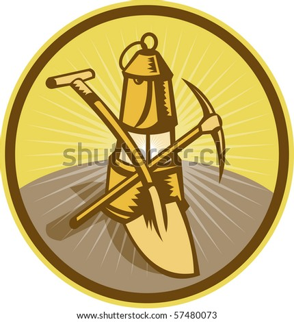 illustration of a Mining or miner's lamp with shovel and pick axe