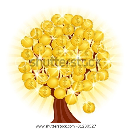 illustration of a money tree with coins on sunny background. Raster version