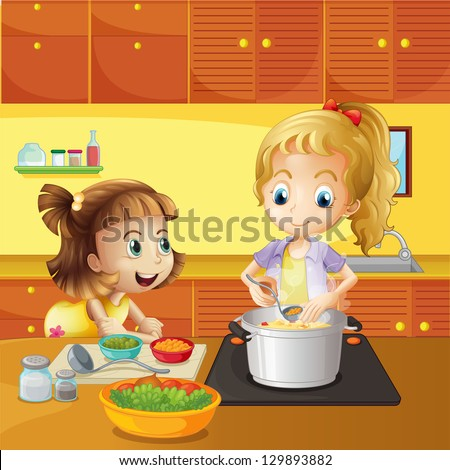 Illustration of a mother and daughter cooking together