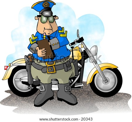 Illustration of a motorcycle cop writing a ticket with his bike in back.