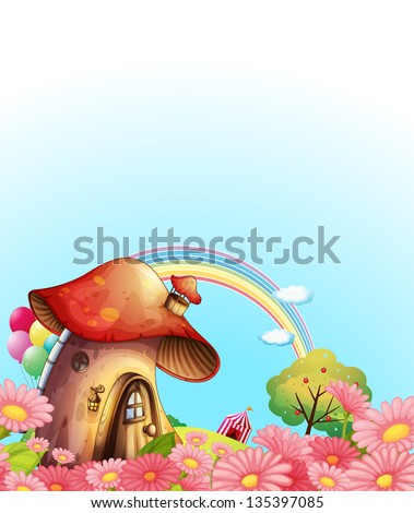 Illustration of a mushroom house above the hill with a garden