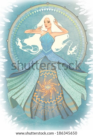 illustration of a mystic woman in long blue dress