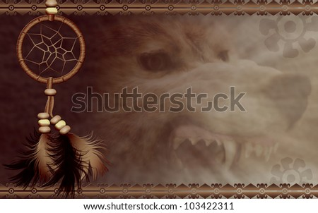 Illustration of a Native American dreamcatcher with angry wolf