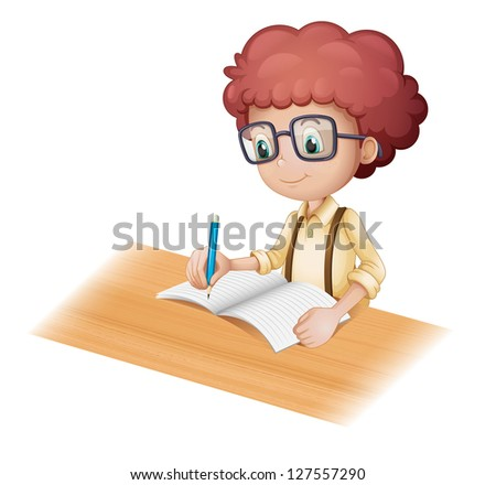 Illustration of a nerd boy writing on a white background