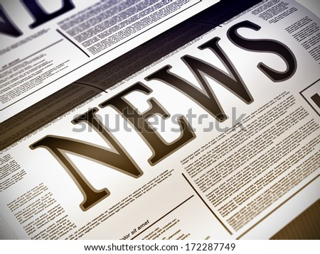 Illustration of a newspaper with news related text, lorem ipsum text