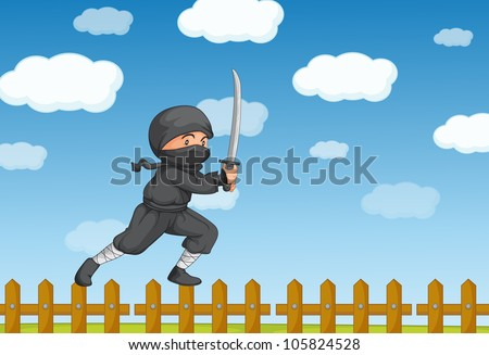 Illustration of a ninja on a fence