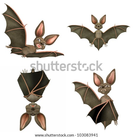 Illustration of a pack of four (4) bats with different poses and expressions isolated on a white background