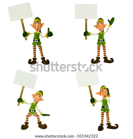 Illustration of a pack of four (4) christmas elves with different poses and expressions holding a sign isolated on a white background