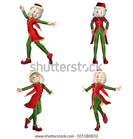 Illustration of a pack of four (4) christmas elves with different poses and expressions isolated on a white background - 4of6
