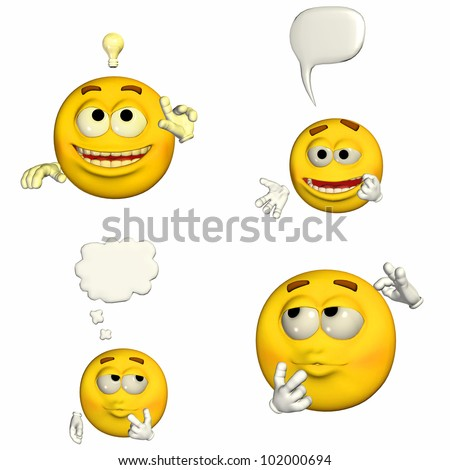 Illustration of a pack of four (4) emoticons / smileys with different poses and expressions isolated on a white background - 1of9
