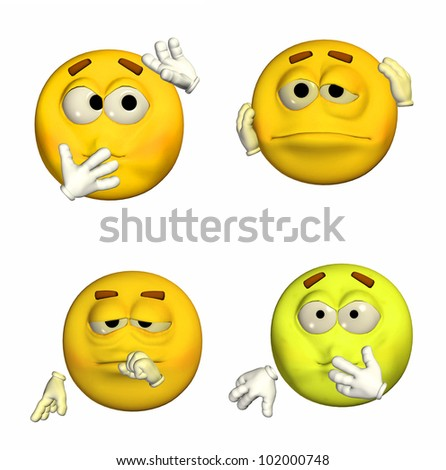 Illustration of a pack of four (4) emoticons / smileys with different poses and expressions isolated on a white background - 3of9