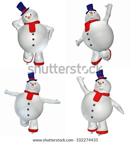 Illustration of a pack of four (4) snowmen with different poses and expressions isolated on a white background