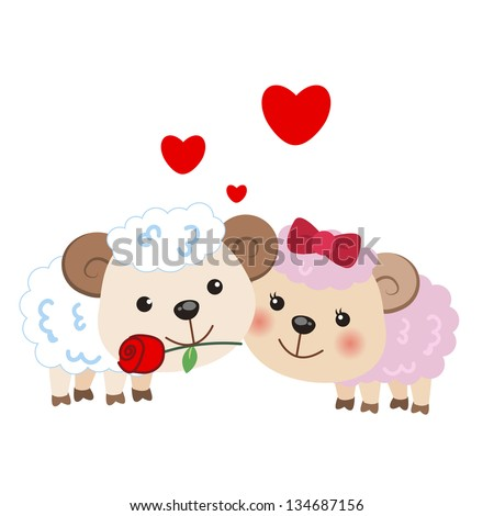 illustration of a pair of sheep huddled together