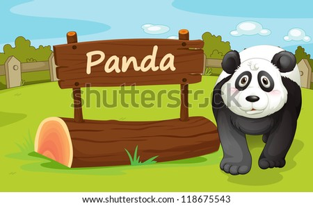 illustration of a panda in a beautiful nature