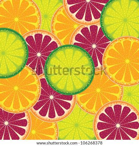 illustration of a pattern of juicy fruit orange, lime and grapefruit. Raster version