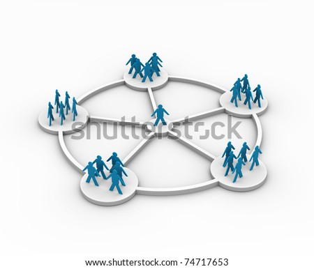 illustration of a person connected to different groups - this is 3d illustration