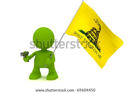 "Illustration of a person holding a gun and the Gadsen ""Don't Tread On Me"" flag.  Part of my cute green man series."