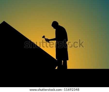 Illustration of a person holding a hammer  on top of a house