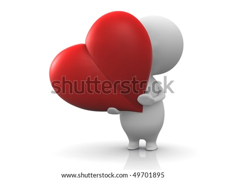Illustration of a person holds a red heart which symbolizes love, donation, devotion, etc.