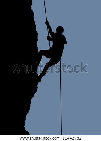 Illustration of a person rock climbing