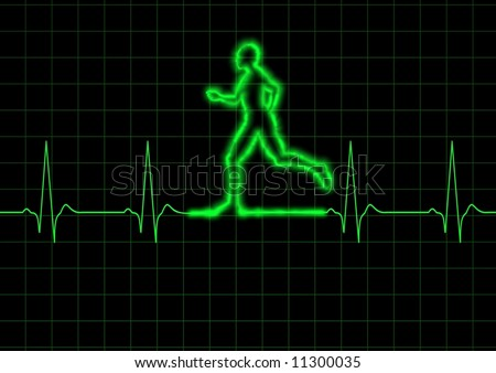 Illustration of a person running on a heart monitor