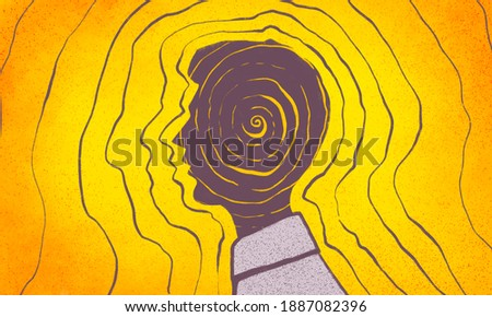 illustration of a person's profile, his thoughts and energy of thoughts, energy of character, law of attraction of thoughts, radiation of mood Foto stock ©
